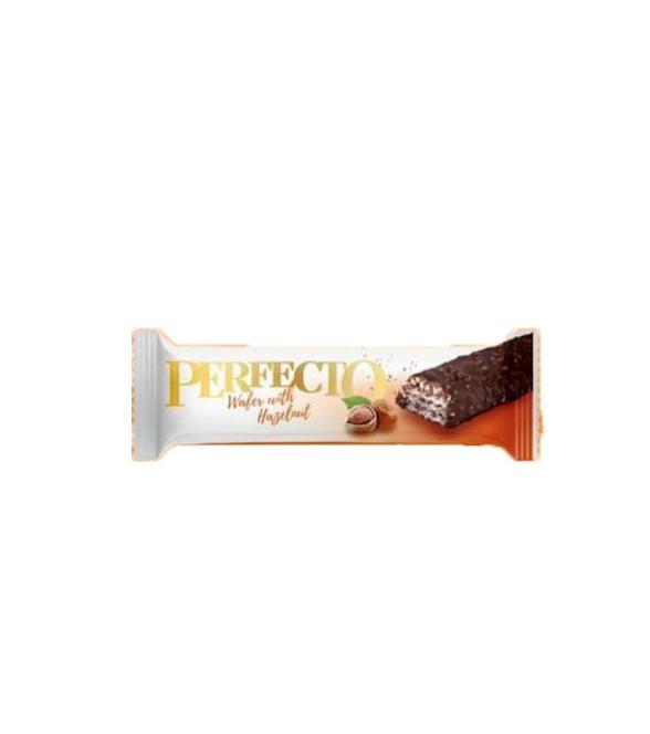 """რძიანი შოკოლადი """"Perfecto"""" დაფარული თხილის კრემით და ნატეხებით 33გრ."""