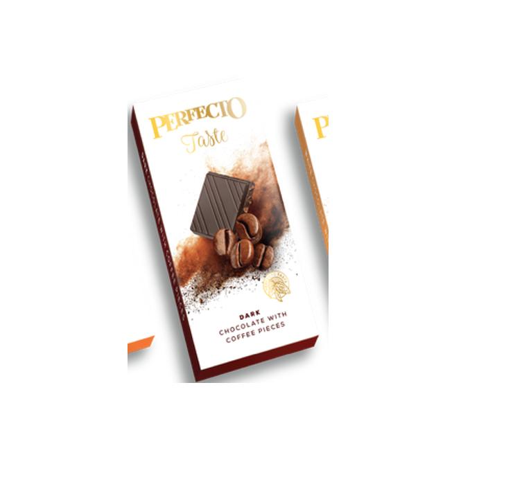 """შავი შოკოლადის ფილა """"Perfecto"""" ყავის მარცვლებით 50გრ."""