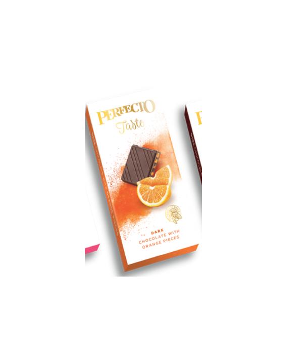 """შავი შოკოლადის ფილა """"Perfecto"""" ფორთოხლის ნატეხებით 50გრ."""