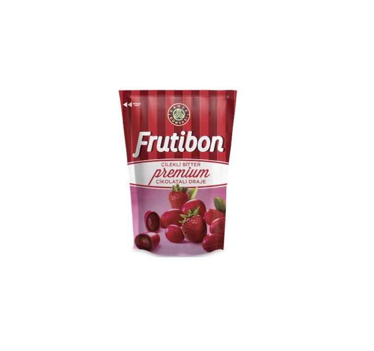 """შავი შოკოლადის დრაჟე """"Frutibon"""" მარწყვის შიგთავსით 100გრ."""