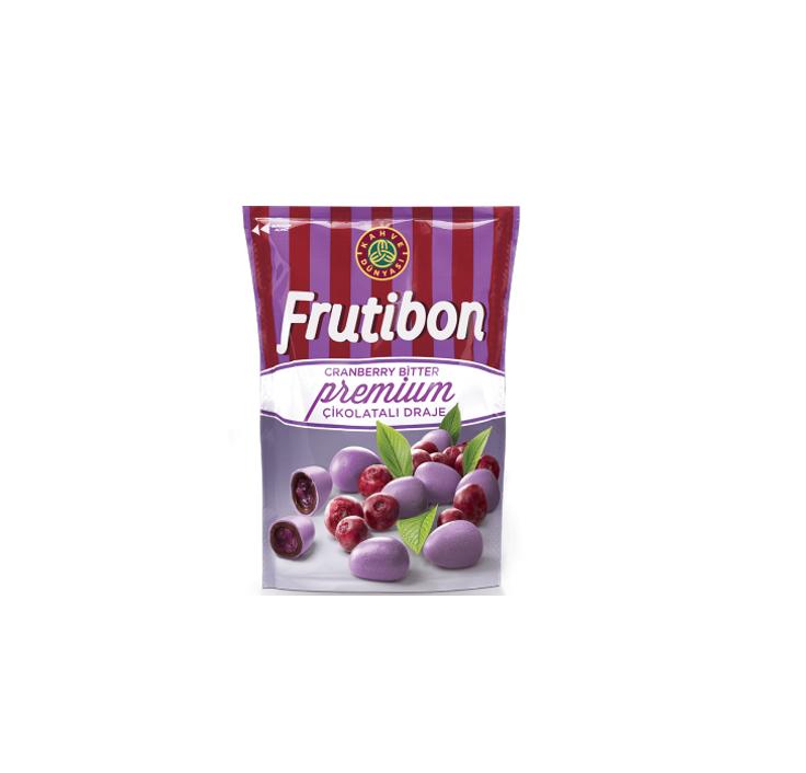 """შავი შოკოლადის დრაჟე """"Frutibon"""" მოცვის შიგთავსით 100გრ."""